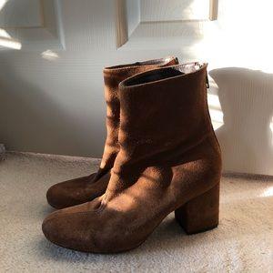 Free people suede block heel boots.